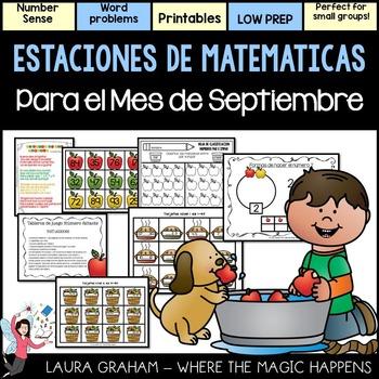 September Math Stations in Spanish