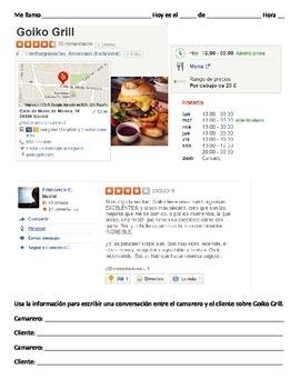 Una critica del restaurante YELP (pedir, servir)