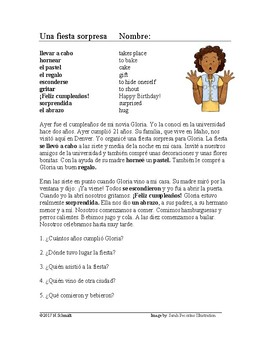 Spanish Preterite Reading + Worksheet: Fiesta Lectura: Pretérito (SUB PLAN)