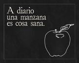 Una manzana - Spanish proverb poster