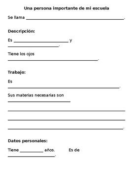 Spanish School Community Activity / Una persona importante en mi escuela