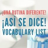 Una rutina diferente Spanish Vocab List ¡Así se dice! 1, 2 Capítulo 11, 2