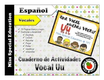 Las vocales - Hojas de Tarea para trabajar la Vocal U (Español/Spanish - Vowels)