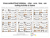 Unaccented Final Syllables Sorting Activity & Game -cher, -sure, -ture, -ure