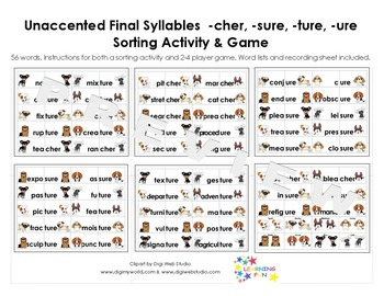 Unaccented Final Syllables Sorting Activity & Game -cher,