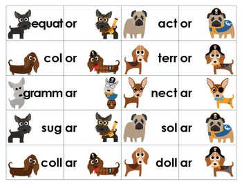 Unaccented Final Syllables Word Sort & Game: -er, -or, -ar