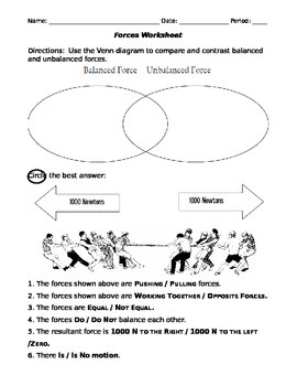 unbalanced and balanced forces activity worksheet middle school tpt. Black Bedroom Furniture Sets. Home Design Ideas