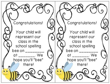 """Spelling Bee Un""""bee""""lievable Pack: Spelling Bee Certificates and Notes"""