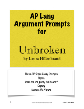 Unbroken Argument Prompts; AP Lang and Comp