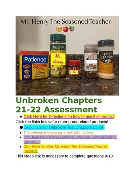 Unbroken Chapters 21-22 Assessment