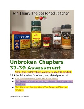 Unbroken Chapters 37-39 PARCC Aligned Test & Essay