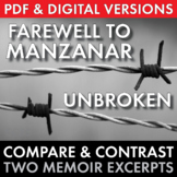 Unbroken, Farewell to Manzanar, Compare & Contrast Non-Fiction, Grades 8-12 CCSS