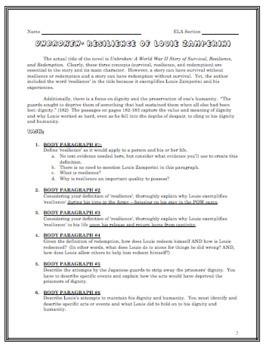 Unbroken Essay and Organizer