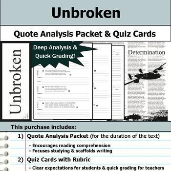 Unbroken - Quote Analysis & Reading Quizzes