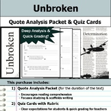 Unbroken - Quote Analysis & Reading Quizzes