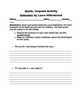 Unbroken: Quote, Unquote Introductory Activity