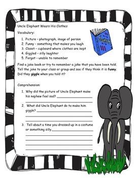 Uncle Elephant by Arnold Lobel ELA Study Guide Unit Printable
