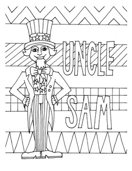 Uncle Sam Design Coloring Page