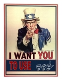 Uncle Sam Wants YOU to Sign, (ASL) sign language poster