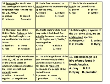 Uncle Sam and Bald Eagle Synonym Reading Task Cards (TEKS 2.1A, 2.1B)