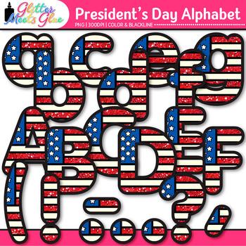 President's Day Clip Art Bundle {Scrapbook Paper, Alphabet, & Frames}