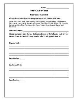 Uncle Tom's Cabin Character Analysis Activity - Harriet Beecher Stowe