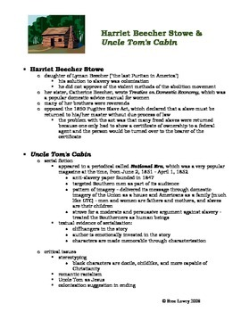 Uncle Tom's Cabin & Harriett Beecher Stowe - Background Handout