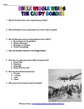 Berlin Airlift Reading & Worksheet on Uncle Wiggle Wings the Candy Bomber