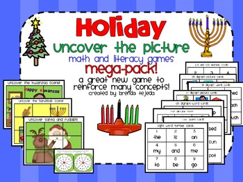 Uncover the Picture Math & Literacy Pack: Christmas, Hanukkah and Kwanzaa fun!