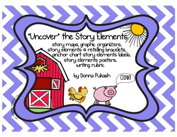 """""""Uncover"""" the Story Elements-Story Maps,Graphic Organizers"""