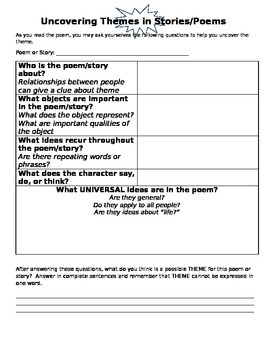 Uncovering Theme in Poems and Stories