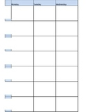 Undated weekly Planner Pages - Excel fully editable 7 periods