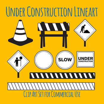 Under Construction Black and White Line Art Clip Art for Commercial Use