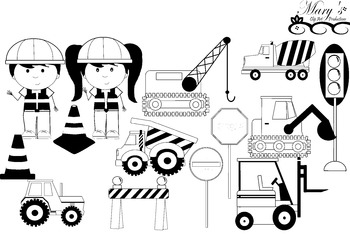 Under Construction Clip Art Set B&W