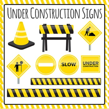 Under Construction Clip Art Set for Commercial Use