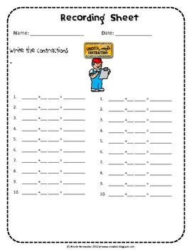 Contractions - Matching Cards Activity