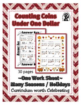Under One Dollar Coin Counting ~ One Work Sheet ~ Curriculum worth Celebrating