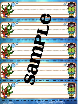 Under The Sea Name Tags (Editable)