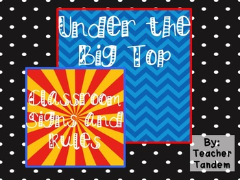 Under The Big Top- Classroom Signs