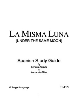 Under The Same Moon-Spanish Study Guide