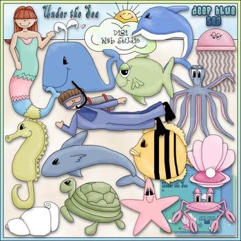 Under The Sea Clip Art - Fish - Mermaid - Ocean Clip Art - CU Clip Art & B&W