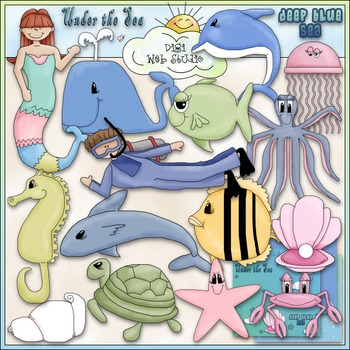 Under The Sea Clip Art - Fish - Mermaid - Ocean Clip Art -
