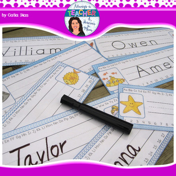 Under The Sea Classroom Theme - Desk Plates with EDITABLE pages