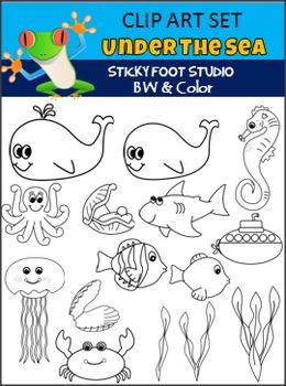 Under The Sea Clip Art - Fish, Sea Horses, and More
