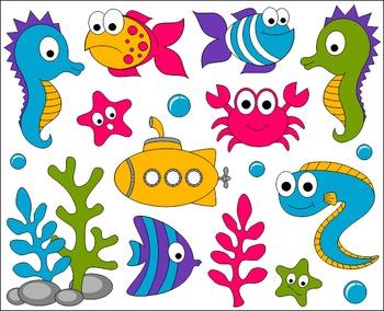 Under The Sea Clip Art - Ocean ClipArt - Fishes, Crab, Seahorse, Eel, Submarine
