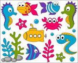 Under The Sea Clip Art - Ocean ClipArt - Fishes, Crab, Sea