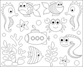 Under The Sea Clip Art - Ocean ClipArt - Fishes, Crab, Seahorse, Eel, Submarine