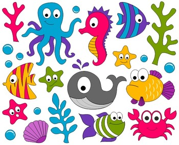 Under The Sea Clip Art - Ocean Digital ClipArt - Fishes, Whale, Crab, Seahorse