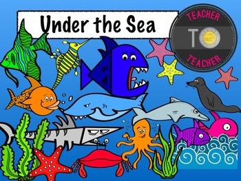 Under The Sea Clipart {TeacherToTeacher Clipart} sea creatures