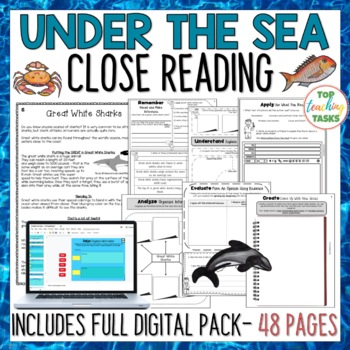Under The Sea Close Reading Comprehension Passages and Questions US/NZ